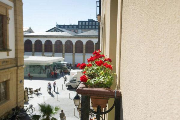 Flores en balcón Pensión Kaixo Hostel Donosti San Sebastian